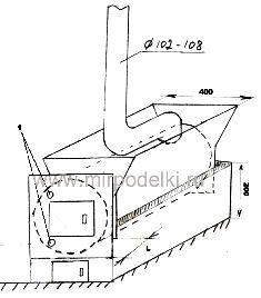 Печка горизонтальная из трубы своими руками чертежи